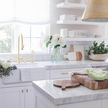White Kitchen With Gold Accents Design Ideas