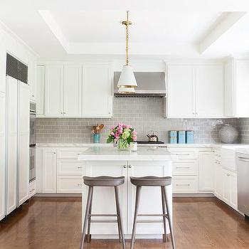 Gold And Gray Kitchen With Jonathan Adler Rio Pendants