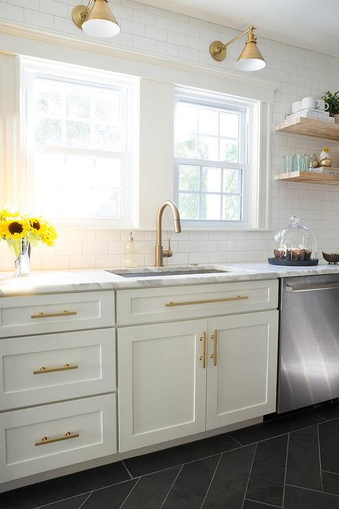 White And Gold Kitchen With Schoolhouse Electric Princeton