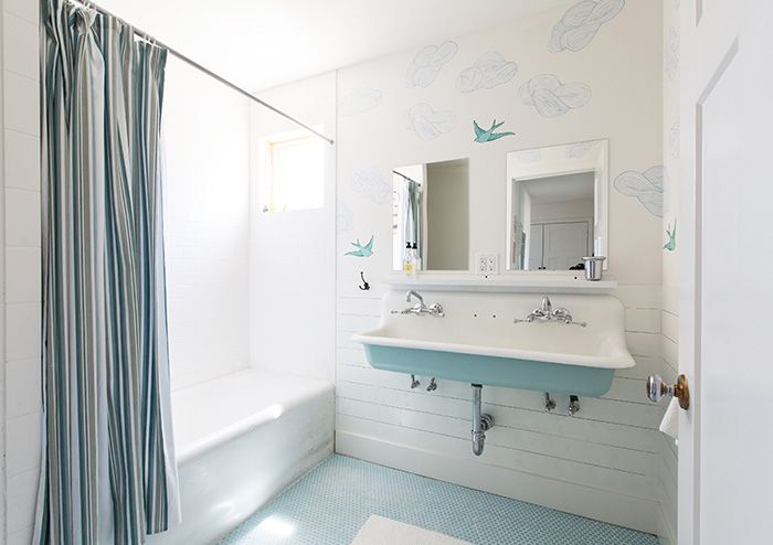 Turquoise Blue Bathroom Sink Cottage Bathroom