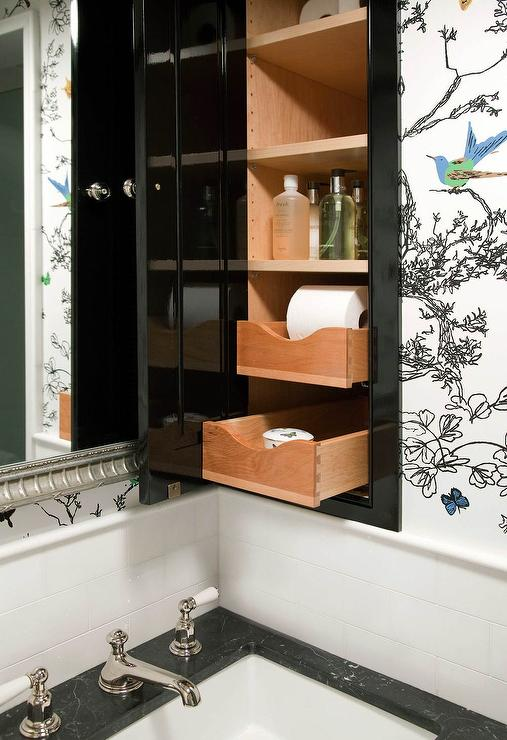 Glossy Black Inset Medicine Cabinet With Pull Out Drawers