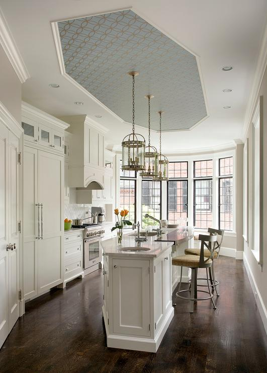 Kitchen With Antiqued Mirrored Cabinets Transitional