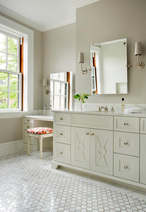 Ivory Washstand With Modern Taper Sconce With Linen Shades