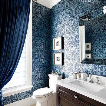 Silver And Blue Damask Wallpaper For Powder Rooms