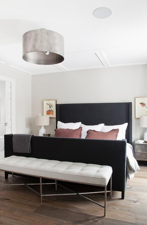 black wingback bed with metal nightstands - contemporary - bedroom Metal Bedroom Nightstands