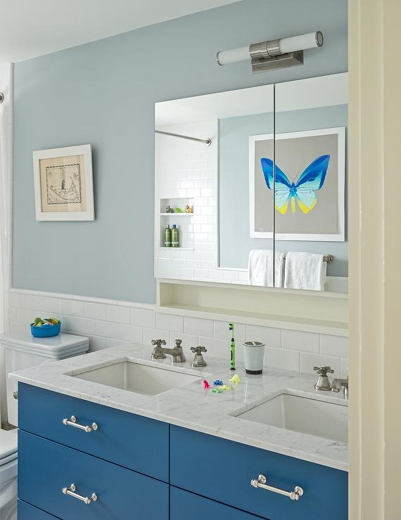 Kids Washstand Painted Blue - Cottage - Bathroom - Sherwin