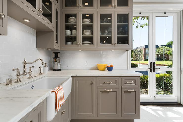 Grey kitchen cabinets transitional kitchen benjamin for Benjamin moore kitchen cabinets