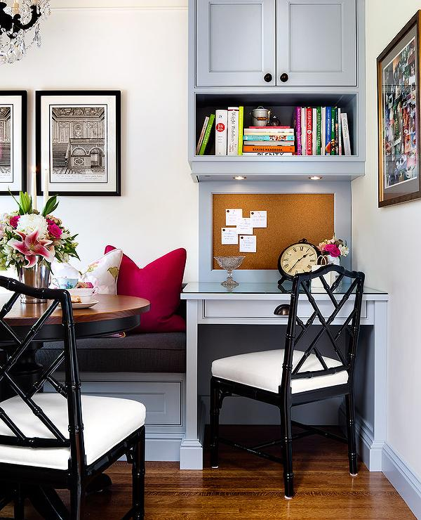 Gray Built In Banquette Next To Desk With Black Bamboo Chair