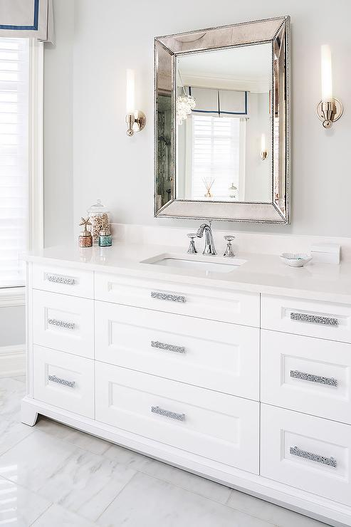 Glam White Bathroom Features A Sink Vanity Adorned With Sparkly Pulls Topped Quartz Under Restoration Hardware Venetian Beaded Mirror