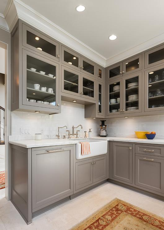 Gray Painted Kitchen Cabinets with Ann Sacks Subway Tiles ...