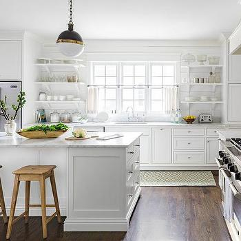 White Country Kitchen With Stacked Shelves