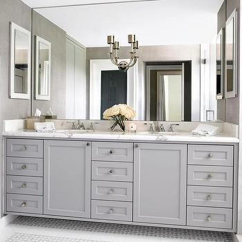 Gray Dual Sink Vanity With Mosaic Marble Floor