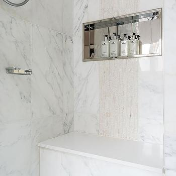 Incroyable Marble Walk In Shower With Stainless Steel Shower Niche