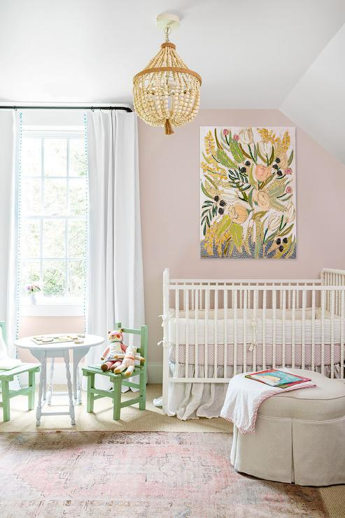 Pink Nursery Walls With White Crib Country Nursery