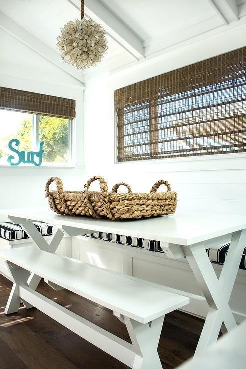 U Shaped Dining Banquette With White X Based Table