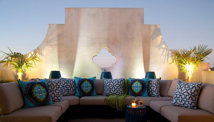 Moroccan Style Outdoor Living Space Is Filled With A U Shaped Sectional  Lined With Blue Geometric Pillows And Turquoise Pillows In Trina Turk Super  Paradise ...