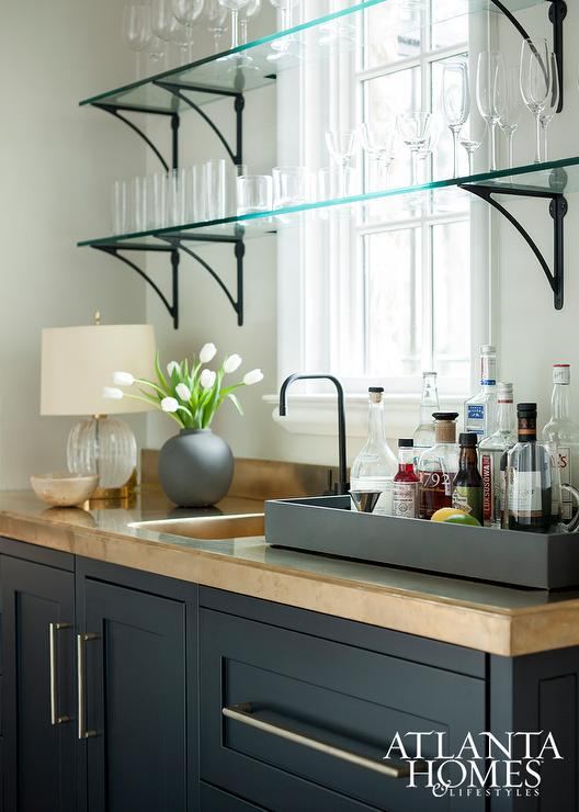 Bar Shelves In Front Of Windows Design Ideas