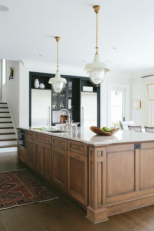 Brown center island with brass pulls transitional kitchen for Center kitchen island ideas