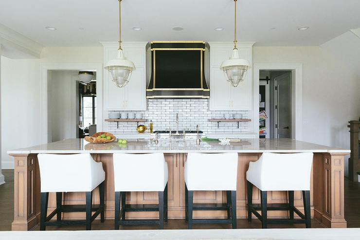 Caramel Colored Kitchen Island With White Slipcovered