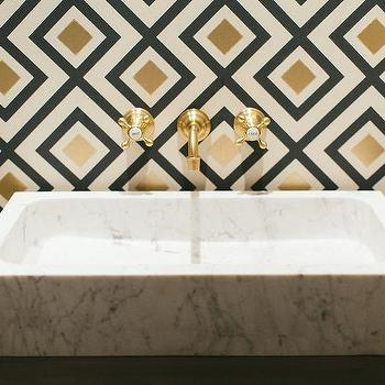 powder room sink faucets. Gold and Black Powder Room with Marble Vessel Sink White Faucet  Contemporary