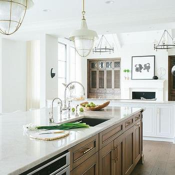 Long Kitchen Island With Sink And Two Gooseneck Faucets