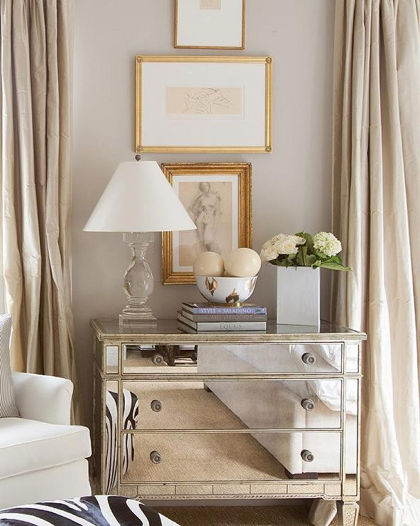 Mirrored Dresser With Gold Ikat Bowl Transitional Bedroom