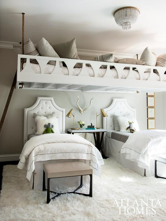 Beds Tucked Under Rope Loft Bed Contemporary Girl S Room