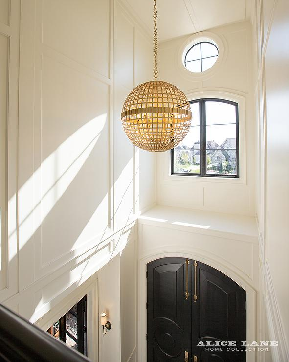 Jonathan adler globo one light pendant in gold for 2 story foyer chandelier