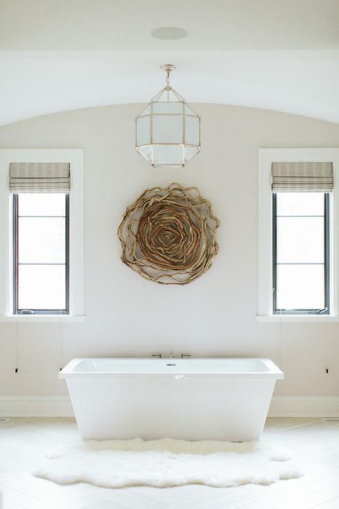Wood Like Bathroom Floor Tiles Design Ideas – White and Beige Bathroom