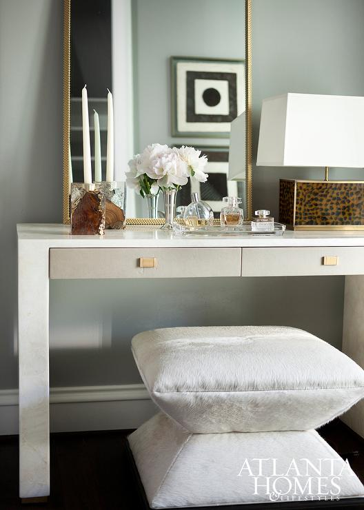 White Vanity With Gray Drawers