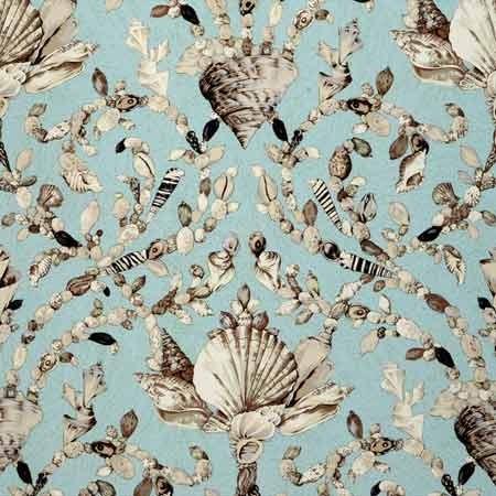 Blue Seashell Baroque Wallpaper