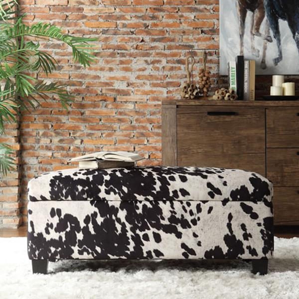 Stupendous Inspire Q Sauganash Black Cowhide Print Lift Top Storage Bench Caraccident5 Cool Chair Designs And Ideas Caraccident5Info