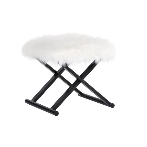 Terrific White Bombay Outlet Devina Faux Fur Metal Ottoman Gmtry Best Dining Table And Chair Ideas Images Gmtryco