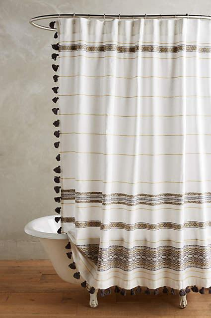 Organic Cotton Shower Curtain Blue Striped Shower Curtain