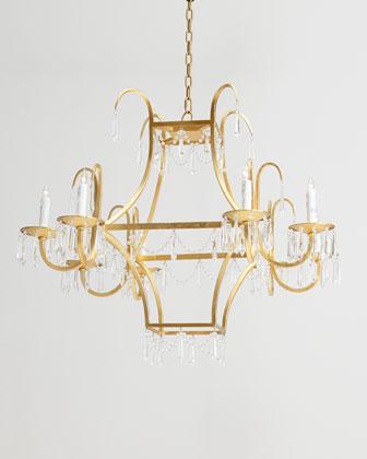 Gold Square 8 Light Crystal Chandelier