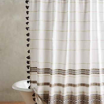Blue and white wide stripe shower curtain for Blue and white striped bathroom accessories
