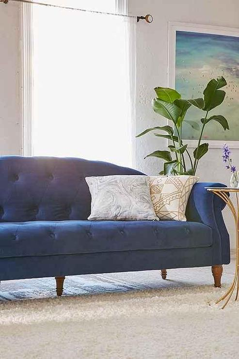 New Deep Sofa In Regal Spa Blue Velvet I Roomservicestore
