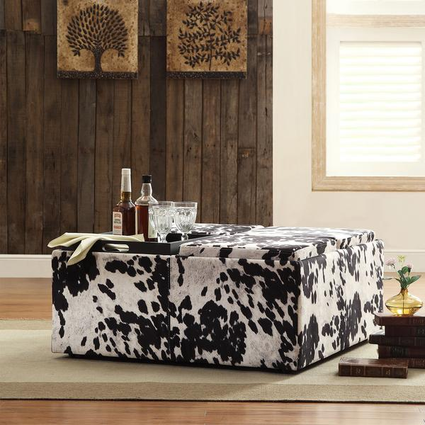Faux Cowhide Ottoman Products Bookmarks Design