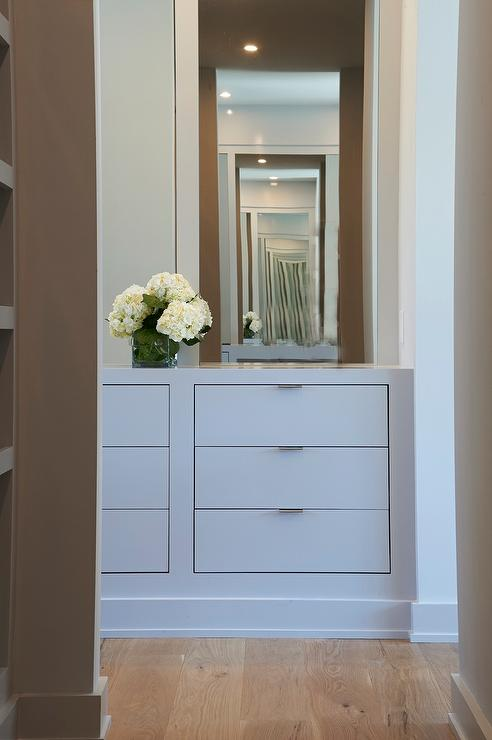 Merveilleux Gray Walk In Closet Features A Built In Gray Dresser With Inset Drawers  Under A Taupe Mirror.