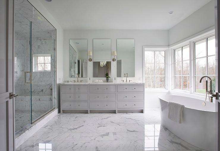 White And Gray Master Bathroom With Gray Dual Vanity