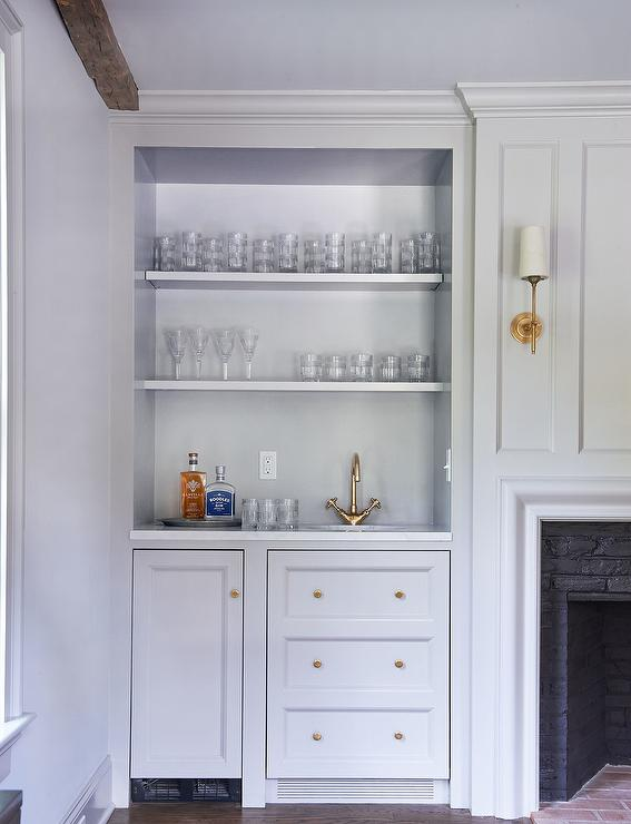 Fireplace Alcove With Built In Shelves And Cabinets