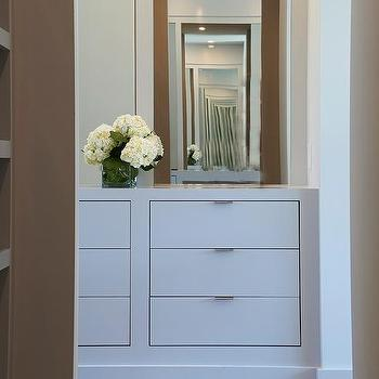 Closet With Gray Built In Dresser