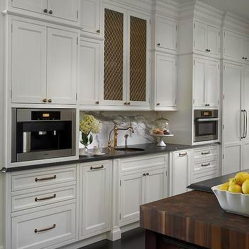 White Kitchen With Copper Hammered Prep Sink And Antique Brass
