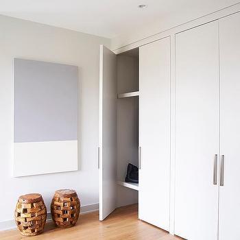 Flat Panel Closet Doors With Gray Color Block Art