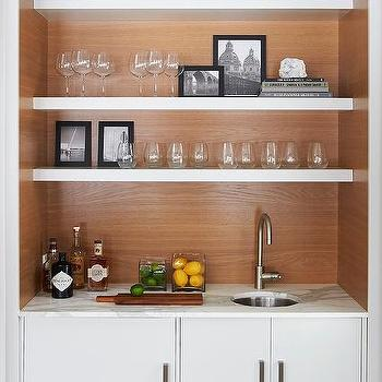 White Wet Bar With Floating Shelves