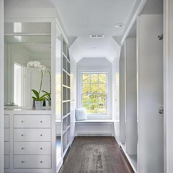 Walk In Closet With Built Window Seat Bench And Cubbies