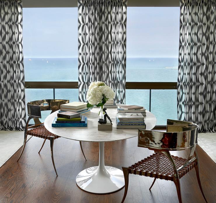 Round Saarinen Dining Table with Chrome Klismos Chairs