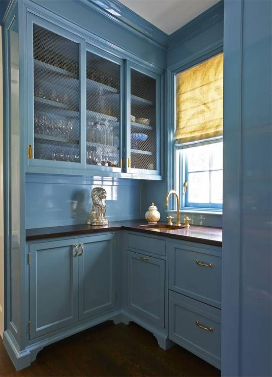 Blue Lacquer Kitchen Cabinets With Blue Beadboard Trim