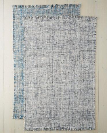 Blue Tweedy Flat Weave Wool Rug