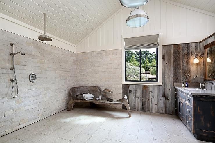 country cabin bathroom with open shower